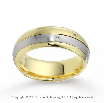 18k Two Tone Gold 7mm Comfort Fit Fancy Diamond Wedding Band