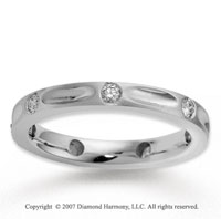 18k White Gold Finely Sleek 3mm .31  Carat Diamond Wedding Band