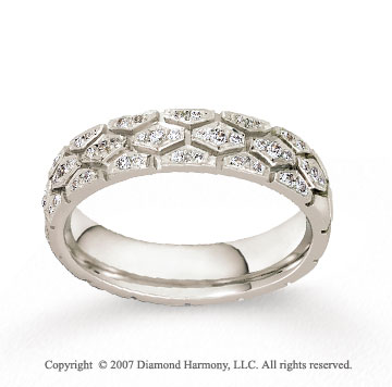 14k White Gold .30  Carat Multi Hexagon Diamonds Wedding Band