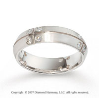 18k White Gold Comfort Fit .56  Carat Diamond Wedding Band