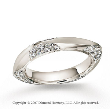 18k White Gold U Shape .64  Carat Diamond Wedding Band