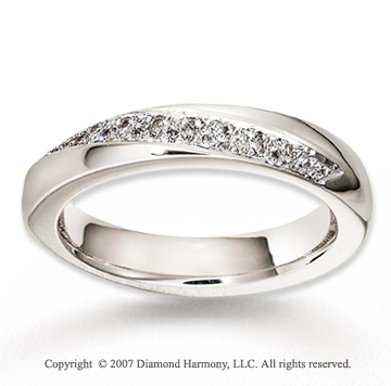 14k White Gold Slanting Unique Diamond Wedding Band
