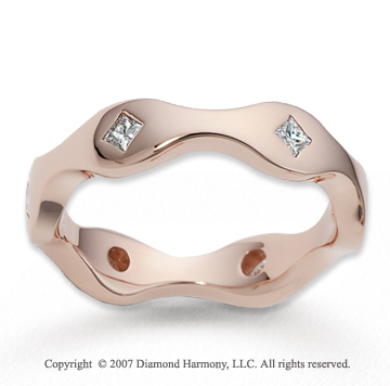 18k Rose Gold Curvy 5mm .30  Carat Fine Diamond Wedding Band