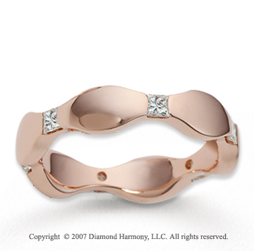 14k Rose Gold 5mm 1/3  Carat Diamond Wedding Curvy Band