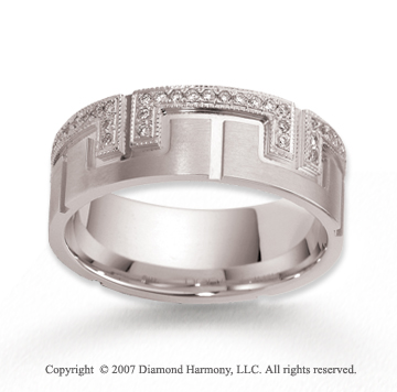 14k White Gold 8mm Milgrain .32  Carat Diamond Wedding Band