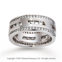 18k White Gold 9.5mm Milgrain 3  Carat Diamond Wedding Band