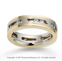 18k Two Tone Gold Stylish 5.5mm .54  Carat Diamond Wedding Band