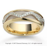 14k Two Tone Gold Fancy Milgrain .30  Carat Diamond Wedding Band