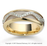 18k Two Tone Gold Fancy Milgrain .30  Carat Diamond Wedding Band