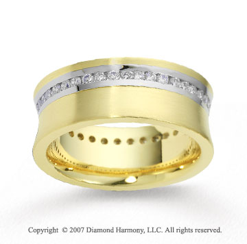 14k Two Tone Gold Shiny 8mm .86  Carat Diamond Wedding Band