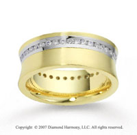 18k Two Tone Gold Shiny 8mm .86  Carat Diamond Wedding Band