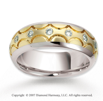 14k Two Tone Gold Curved 7mm .49  Carat Diamond Wedding Band