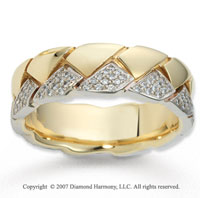18k Two Tone Gold Stunning .66  Carat Prong Set Diamond Wedding Band