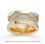 14k Two Tone Gold Grand Comfort Fit .48  Carat Diamond Wedding Band