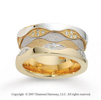 18k Two Tone Gold Grand Comfort Fit .48  Carat Diamond Wedding Band