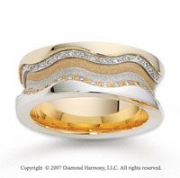 18k Two Tone Gold Grand Comfort Fit .68  Carat Diamond Wedding Band