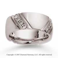 14k White Gold Stylish 8mm .80  Carat Diamond Wedding Band