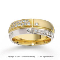 18k Two Tone Gold 7mm Comfort Fit .44  Carat Diamond Wedding Band