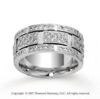 14k White Gold 9mm 1.47  Carat Prong Set Diamond Wedding Band