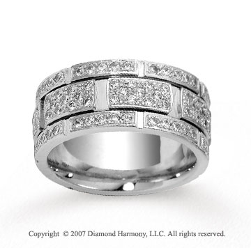 18k White Gold 9mm 1.47  Carat Prong Set Diamond Wedding Band