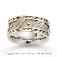 18k Two Tone Gold Rope Edged Prong Set Diamond Wedding Band