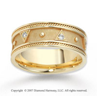 14k Yellow Gold Elegant Rope Edged Diamond Wedding Band