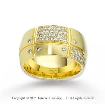 18k Yellow Gold Amazingly Set .63  Carat Diamond Wedding Band