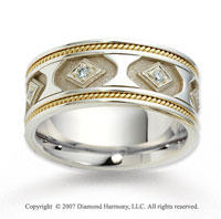 18k Two Tone Gold Elegant Rope Edged Diamond Wedding Band