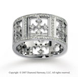 14k White Gold Artistic 1.18  Carat Multi Diamond Wedding Band