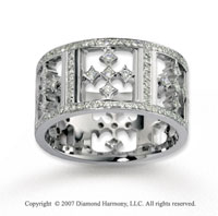 18k White Gold Artistic 1.18  Carat Multi Diamond Wedding Band
