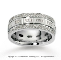 14k White Gold Sophisticated 1.51  Carat Diamond Wedding Band