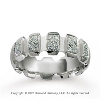 14k White Gold Stylishly Carved 1/4  Carat Diamond Wedding Band