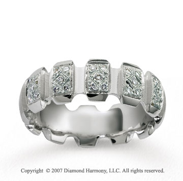 18k White Gold Stylishly Carved 1/4  Carat Diamond Wedding Band