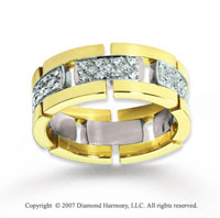 18k Two Tone Gold Elegant 2/3  Carat Diamond Wedding Band