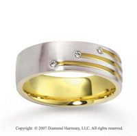 14k Two Tone Gold Stylish Pave Set CF Diamond Wedding Band