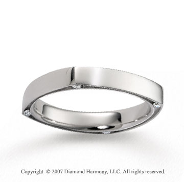 18k White Gold Simple 4mm Diamond Wedding Band