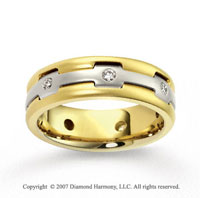 14k Two Tone Gold Fashionable 7.5mm .32  Carat Diamond Wedding Band