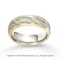 18k Two Tone Gold Artistic .44  Carat Diamond Wedding Band