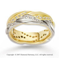 18k Two Tone Gold Rope Style 1/2  Carat Diamond Wedding Band
