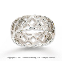 18k White Gold Square And Heart Carved Diamond Wedding Band