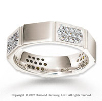 14k White Gold Hexagon CF .52  Carat Diamond Wedding Band