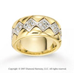 14k Two Tone Gold Square .70  Carat Prong Set Diamond Wedding Band
