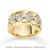 18k Two Tone Gold Square .70  Carat Prong Set Diamond Wedding Band