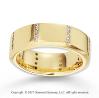 18k Yellow Gold Thin Line CF .35  Carat Diamond Wedding Band