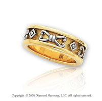 14k Two Tone Gold Beautiful Etruscan Wedding Band