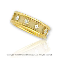 14k Yellow Gold Diamond Etruscan Wedding Band