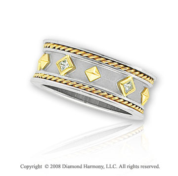 14k Two Tone Gold Diamond Etruscan Wedding Band