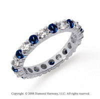 2 Carat Blue Sapphire and Diamond Platinum Eternity Band