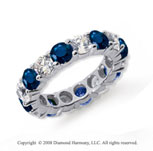 5 Carat Blue Sapphire and Diamond Platinum Eternity Band