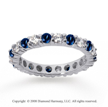 1 Carat Blue Sapphire and Diamond 14k White Gold Eternity Band